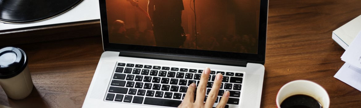 Live streaming concert on a laptop in the new normal