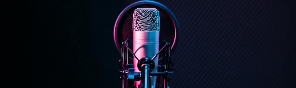 Studio microphone and pop shield on mic in the empty recording s